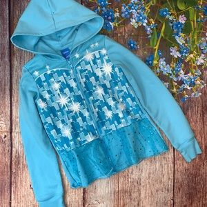 Disney Frozen Elsa Hooded Sweatshirt Tulle Girls M